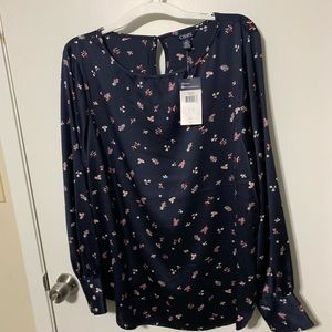 Chaps Navy Blue Silk Long Sleeve Blouse L